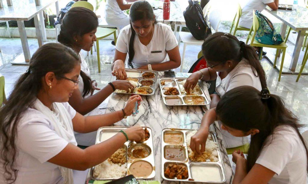 Indian Students having food in UV Gullas College of Medicine Hostel