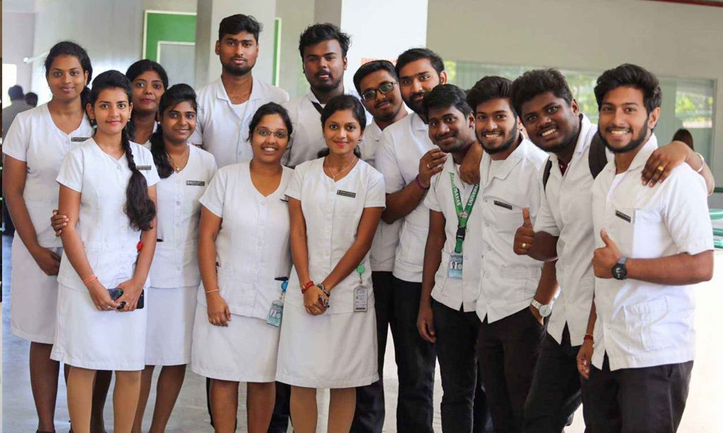 Students in UV Gullas Medical College campus